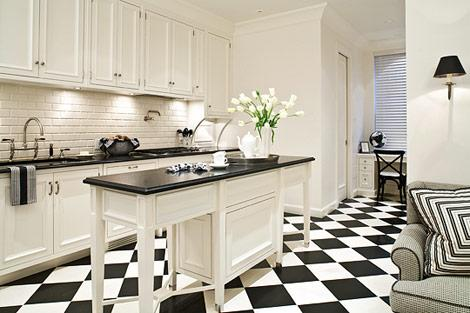 Black White Kitchen Tiles 2017 Grasscloth Wallpaper